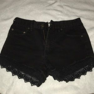 black free people shorts with lace trim